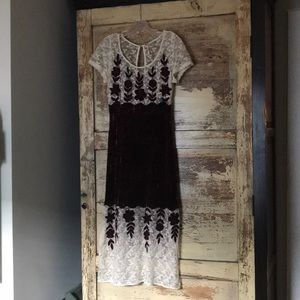 Free People Red Velvet & White Lace Sheer Dress